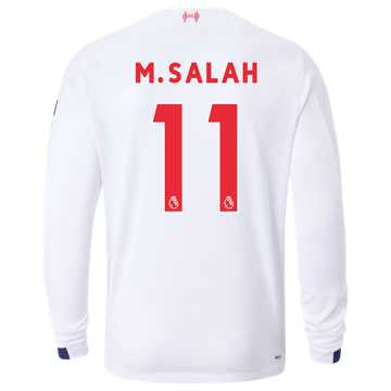 New Balance Liverpool FC Away LS Jersey Salah No EPL Patch, White with Navy & Team Red