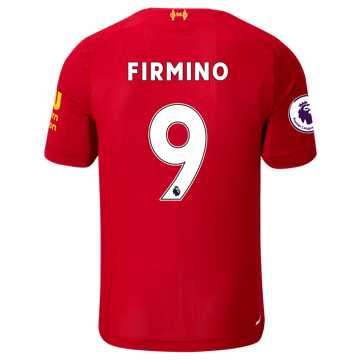 New Balance Liverpool FC Home SS Jersey Firmino EPL Patch, Red Pepper