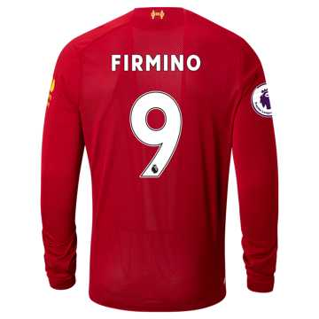New Balance Liverpool FC Home LS Jersey Firmino EPL Patch, Red Pepper
