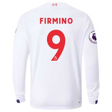 New Balance Liverpool FC Away LS Jersey Firmino EPL Patch, White with Navy & Team Red