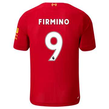 New Balance Liverpool FC Home SS Jersey Firmino No EPL Patch, Red Pepper with White