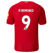 NB Liverpool FC Home SS Jersey Firmino No EPL Patch, Red Pepper with White