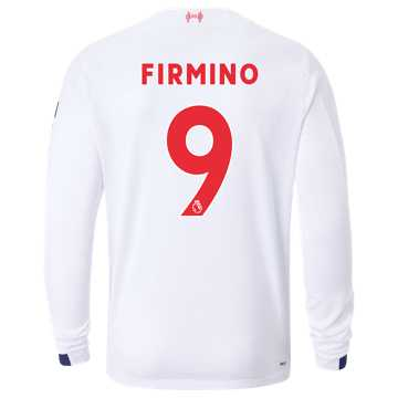 New Balance Liverpool FC Away LS Jersey Firmino No EPL Patch, White with Navy & Team Red
