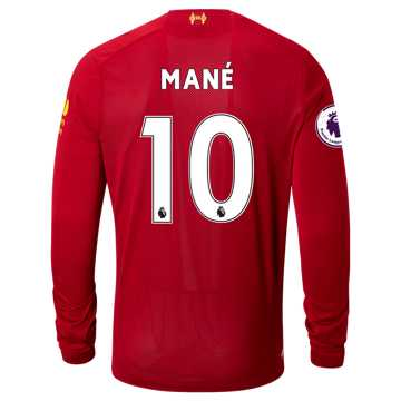New Balance Liverpool FC Home LS Jersey Mane EPL Patch, Red Pepper with White