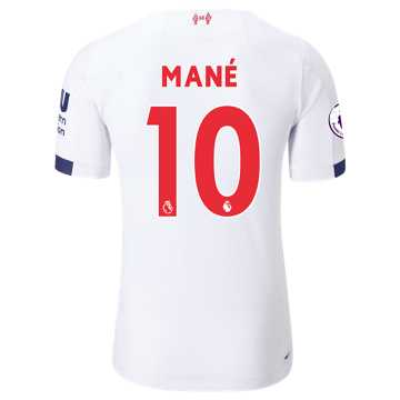 New Balance Liverpool FC Away SS Jersey Mane EPL Patch, White with Navy & Team Red