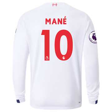 New Balance Liverpool FC Away LS Jersey Mane EPL Patch, White with Navy & Team Red