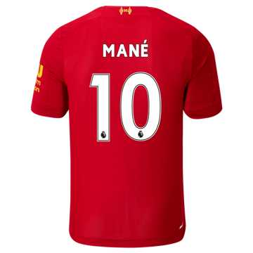 New Balance Liverpool FC Home SS Jersey Mane No EPL Patch, Red Pepper with White