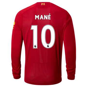 New Balance Liverpool FC Home LS Jersey Mane No EPL Patch, Red Pepper with White