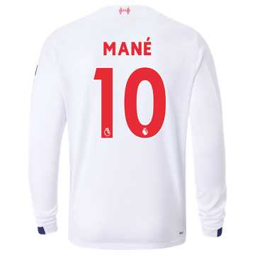 New Balance Liverpool FC Away LS Jersey Mane No EPL Patch, White with Navy & Team Red