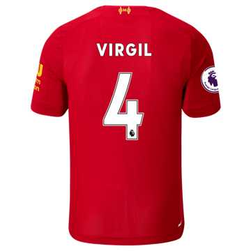 New Balance Liverpool FC Home SS Jersey Virgil EPL Patch, Red Pepper with White