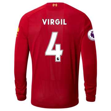 New Balance Liverpool FC Home LS Jersey Virgil EPL Patch, Red Pepper with White