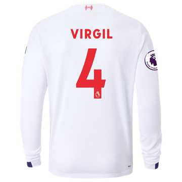 New Balance Liverpool FC Away LS Jersey Virgil EPL Patch, White with Navy & Team Red