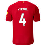 NB Liverpool FC Home SS Jersey Virgil No EPL Patch, Red Pepper with White