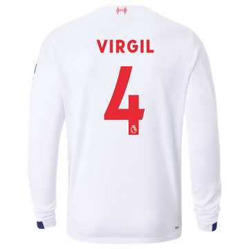 New Balance Liverpool FC Away LS Jersey Virgil No EPL Patch, White with Navy & Team Red