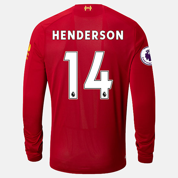 New Balance Liverpool FC Home LS Jersey Henderson EPL Patch, MT939848HME
