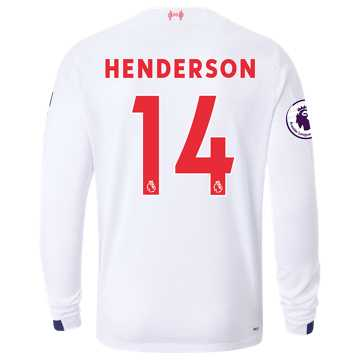 New Balance Liverpool FC Away LS Jersey Henderson EPL Patch, White with Navy & Team Red