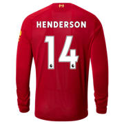 NB Liverpool FC Home LS Jersey Henderson No EPL Patch, Red Pepper with White