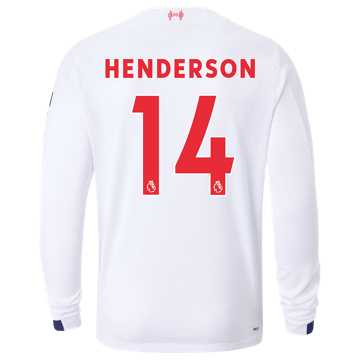 New Balance Liverpool FC Away LS Jersey Henderson No EPL Patch, White with Navy & Team Red