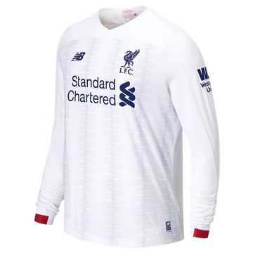 New Balance Liverpool FC Away LS Jersey EPL Patch, White with Navy & Team Red