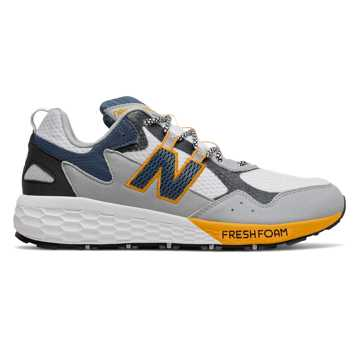 New Balance Fresh Foam Crag v2, White with Light Aluminum & Chromatic Yellow