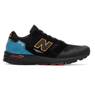 New Balance Made in UK 575 Urban Peak, Black with Bright Blue & Red