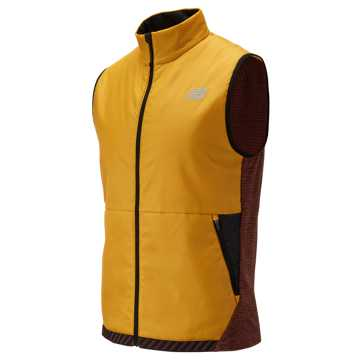 New Balance NB Heat Grid Vest, Varsity Gold with Burgundy & Black