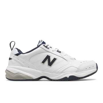 b2722da13ade0 New Balance Mens 624, White with Navy