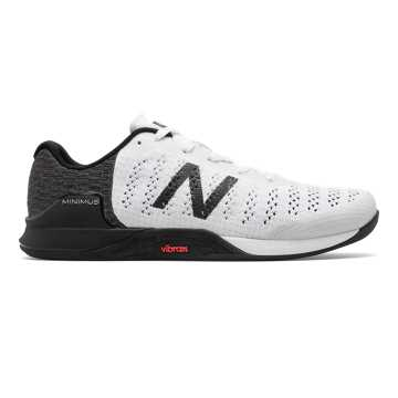 New Balance Minimus Prevail, White with Black & Energy Red