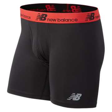 New Balance Fresh 6 Inch Boxer Brief 2 Pack, Black with Red & Grey