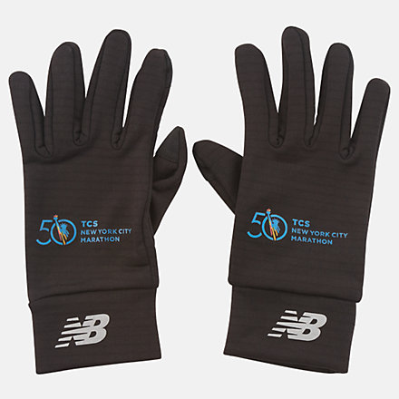 New Balance Marathon Heavyweight Grid Fleece Gloves, NB2014MBK image number null