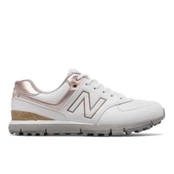 New Balance 574 SL, White with Rose Gold