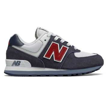 New Balance 574 Core Plus, Navy with Red