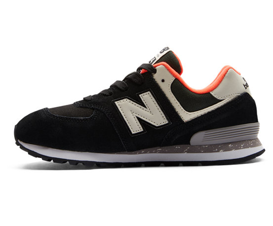 best sneakers ac080 0b9b1 New Balance 574, Black with Flame