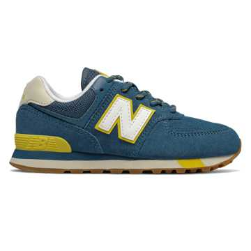 New Balance 574, Chambray with Chartreuse
