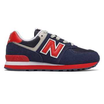 New Balance 574, Navy with Red