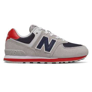 New Balance 574, Grey with Red