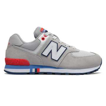 New Balance 574, Nimbus Cloud with Energy Red