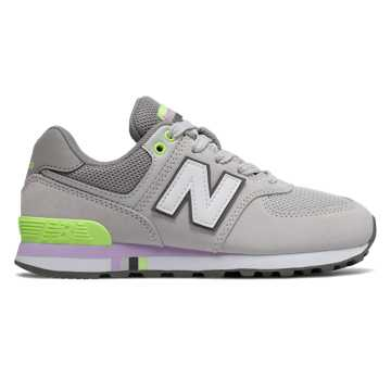 New Balance 574, Summer Fog with Bleached Lime Glo