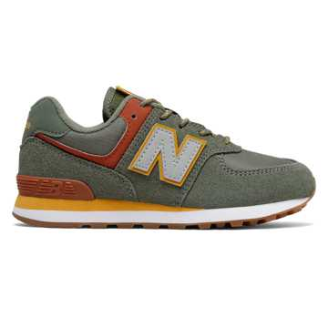 New Balance Camp 574, Slate Green with Red Jasper
