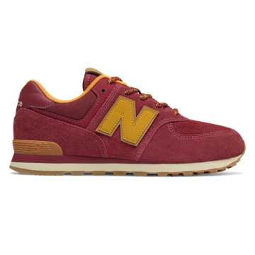 New Balance 574, Mercury Red with Gold Rush