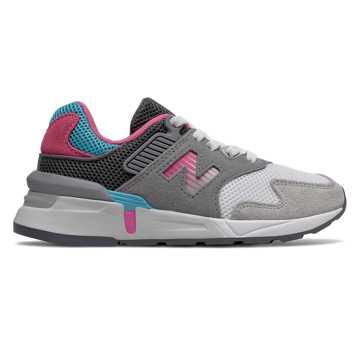 New Balance 997S系列儿童系带休闲运动鞋, 灰色/白色