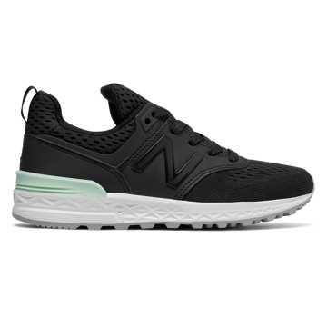 New Balance 574 Sport, Black with Seafoam