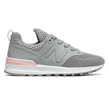 New Balance 574 Sport, Silver Mink with Sunrise Glo
