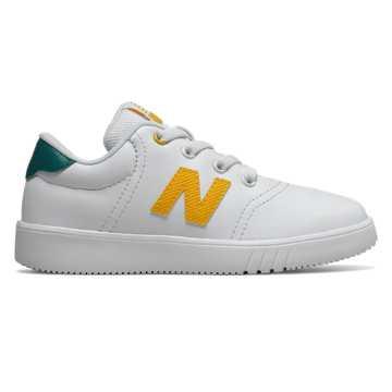 New Balance 10系列兒童系帶休閑運動鞋, 白色