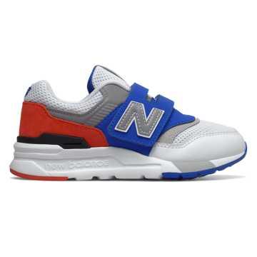 New Balance 997H系列儿童复古休闲运动鞋, 白色/蓝色