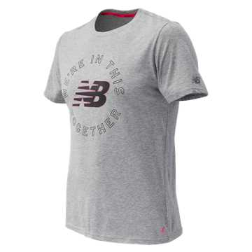 New Balance Pink Ribbon Heather Tech NB Graphic Short Sleeve, Athletic Grey