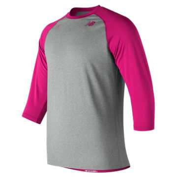 New Balance 3 Quarter Baseball Raglan Top, Pink Zing with Light Grey