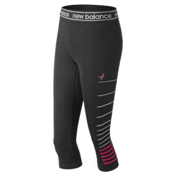 New Balance Pink Ribbon Printed Accelerate Capri, Black Multi