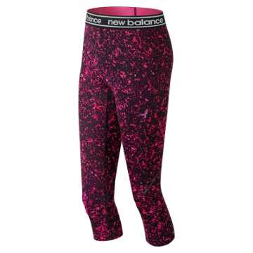 New Balance Pink Ribbon Printed Accelerate Capri, Pink Glo with Black