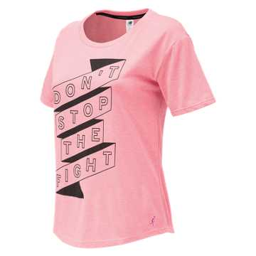 New Balance Pink Ribbon Heather Tech Graphic Tee, Alpha Pink Heather with Black